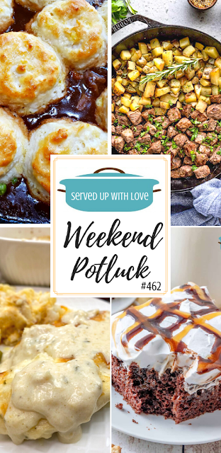 Weekend Potluck featured recipes include Steak Bites & Potatoes, Beef Pot Pie, Baked Chicken and Ranch, Snickers Poke Cake and more.