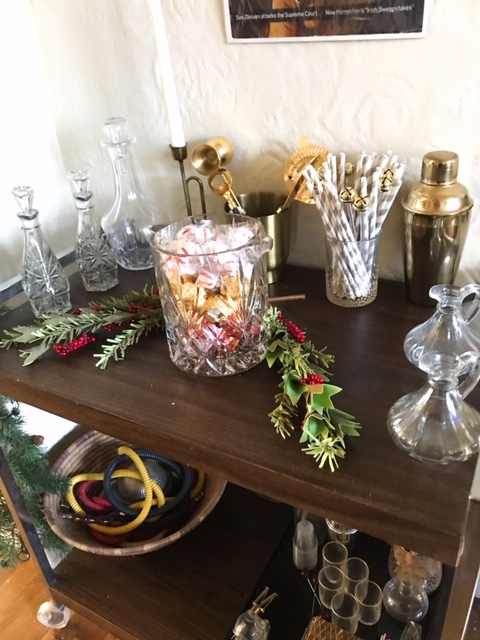 bar cart, vintage bar cart, vintage decor, christmas decor