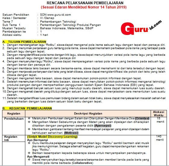 Rpp Satu Lembar Kelas 3 Tema 7 K13 Revisi 2020 Info Pendidikan Terbaru