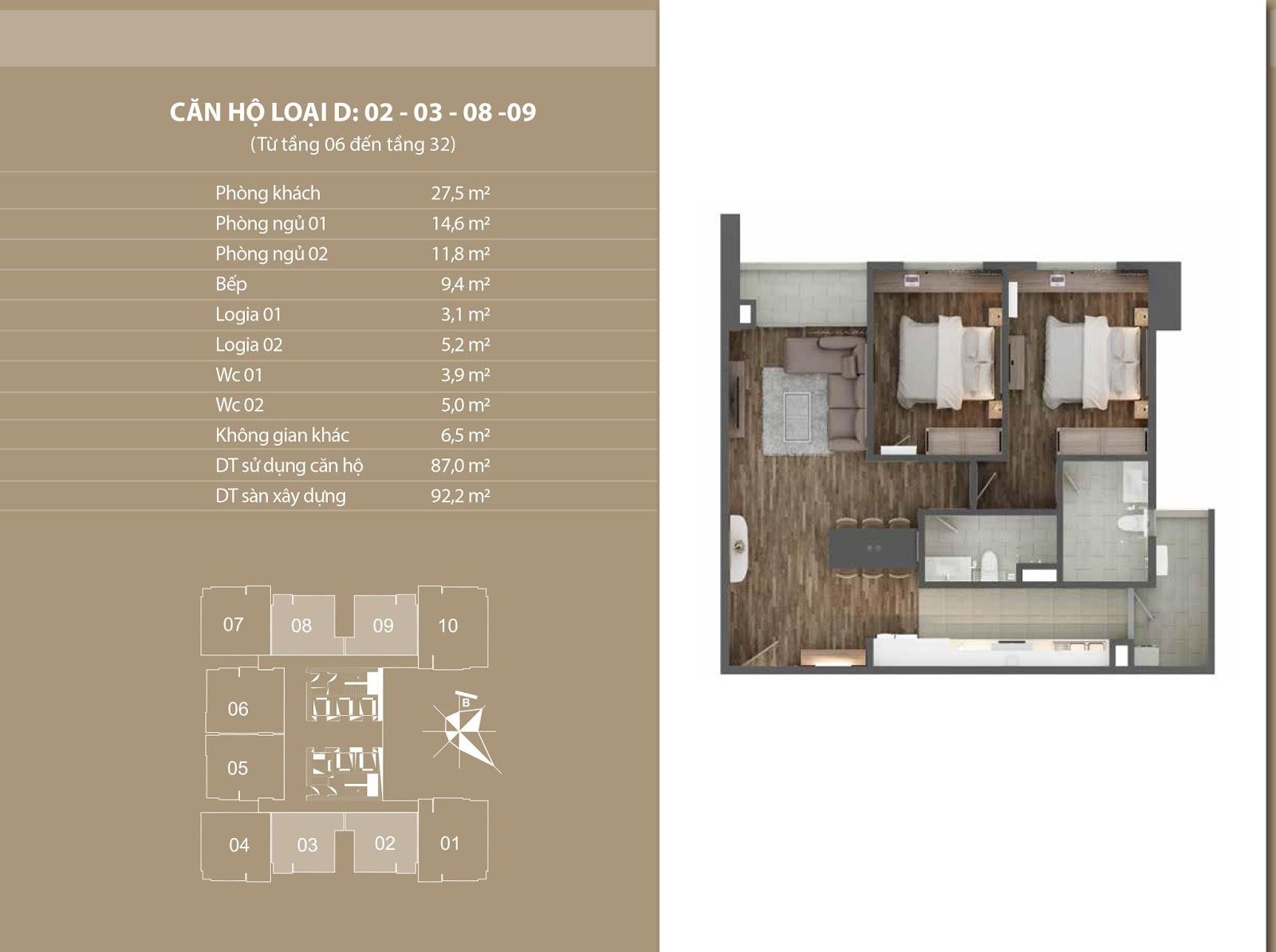 Vị trí căn 02, 03, 08 và 09  tại chung cư Phú Mỹ Complex - N01T4 Ngoại Giao Đoàn