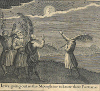 "An engraving captioned ""Jews going out in the Moonshine to know their Fortune"". The image is of four men holding palm fronds and gesticulating at a shining moon that is half-hidden behind some clouds."