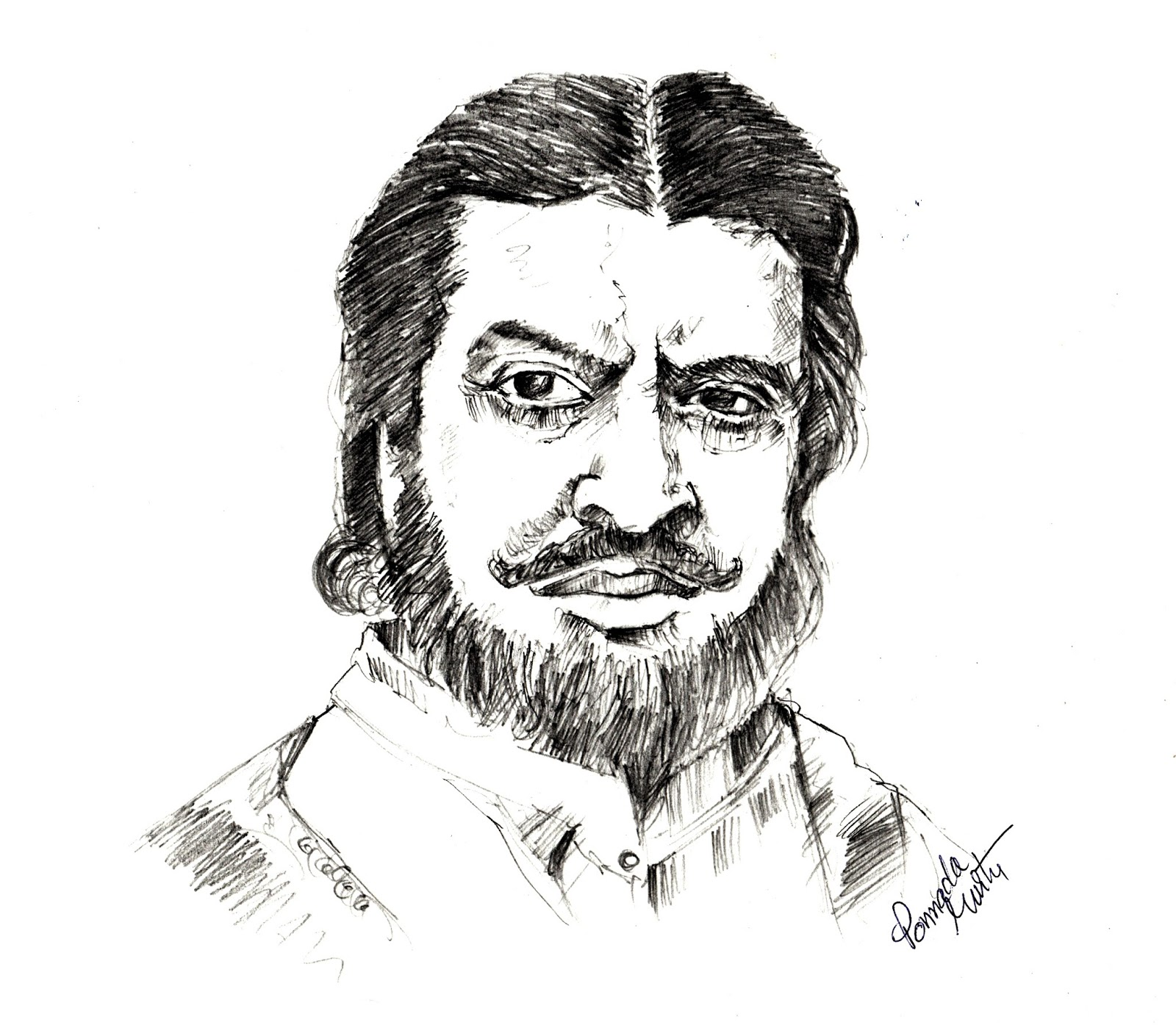 Pran the legendary actor pencil sketch