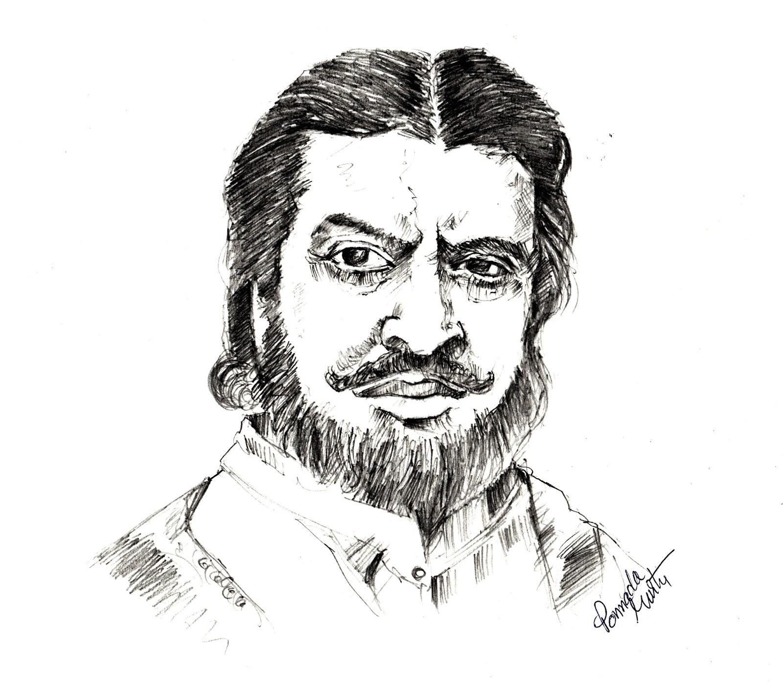 Pran the legendary actor pencil sketch