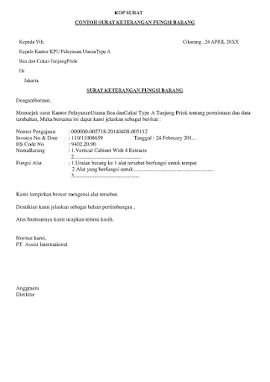 Contoh Surat Keterangan Fungsi Barang-Surat Pernyataan Fungsi Barang Dan Kegunaan Barang Untuk Pabean-Bea Dan Cukai