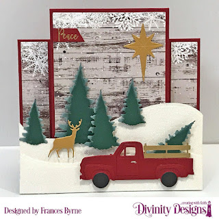 Stamp/Die Duos: Deer Ornament  Custom Dies: Pickup Truck, Center Step Card with Layers, Curvy Slopes, Trees & Deer, Sentiment Strip,  Christmas Tree Table Top Décor (star), Paper Collection: Rustic Christmas
