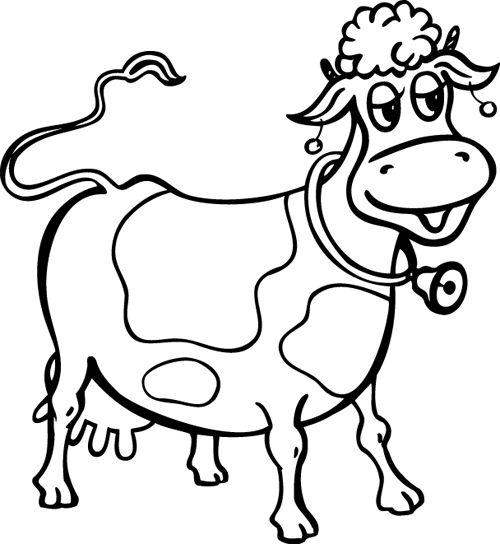 Hình tập tô màu con bò đeo chuông