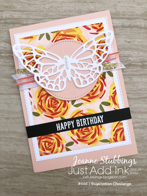 Jo's Stamping Spot - Just Add Ink Challenge #446 using Abstract Impressions & Rectangle Stitched Framelits by Stampin' Up!