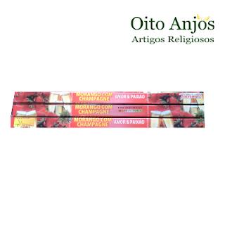 Incenso Morango com Champagne - Oito Anjos Artigos Religiosos e Loja Esotérica