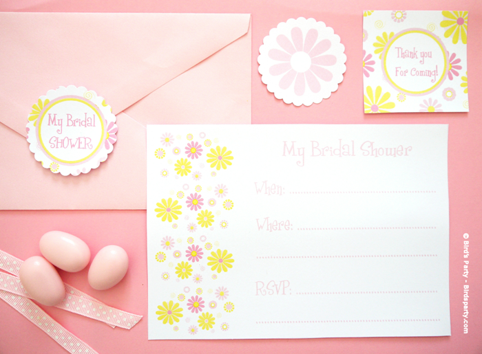 A Pink and Yellow Bridal Shower with Free printables  - BirdsParty.com