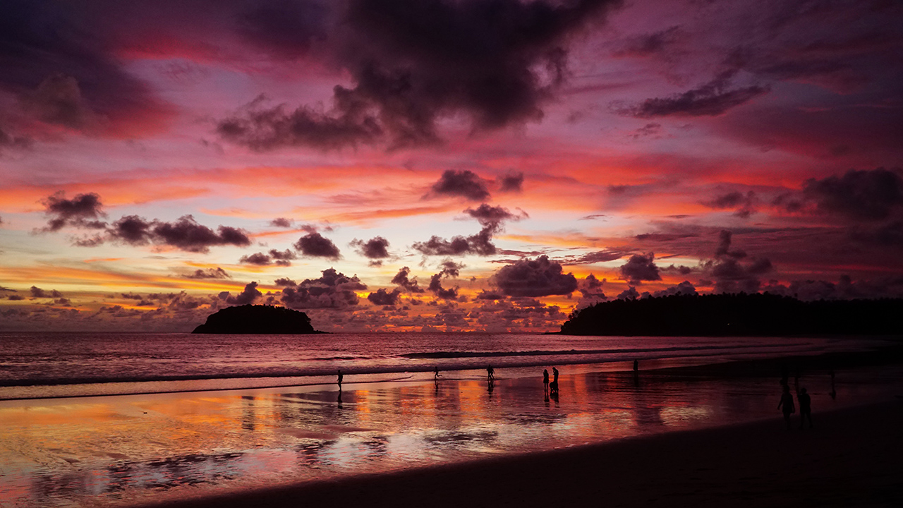 Phuket tropical sunset in Kata beach, Thailand