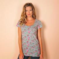 Tricou cu guler rotund imprimeu floral