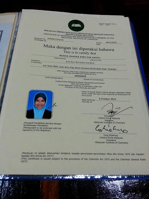 Ada Bachelor of Science In Chemistry? Daftarlah Sebagai MMIC(Member of Malaysia Institute Of Chemistry)