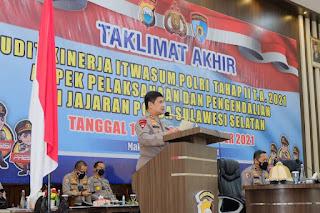 Kapolda Sulsel Tutup Wasrik Itwasum Polri Tahap II TA. 2021 Dilingkup Polda Sulsel