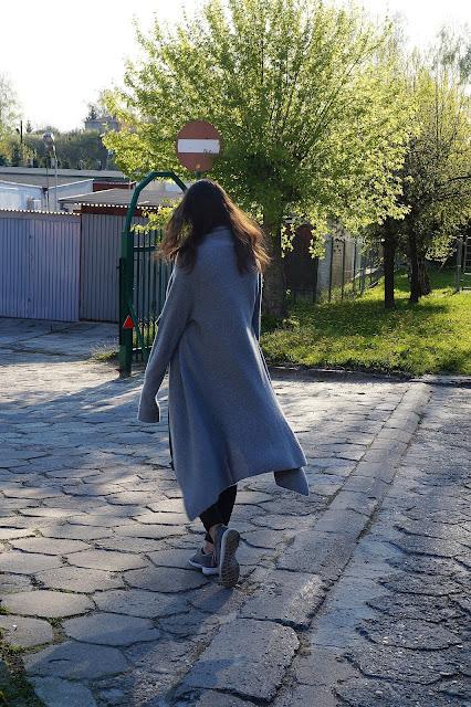 Długi sweter kardigan stylizacja szary