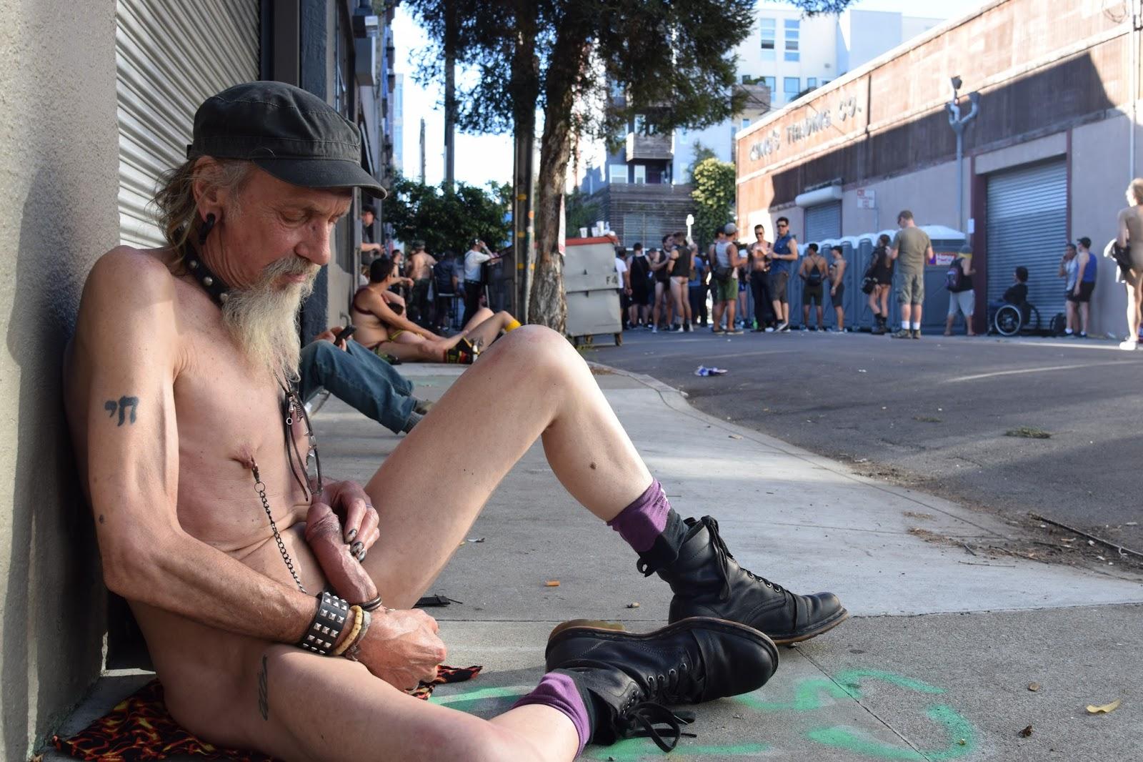 Guy masturbating in public