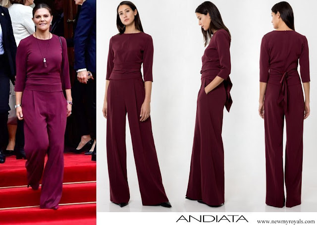 Crown Princess Victoria wore Andiata wine-red Kamille trousers and Kiana blouse