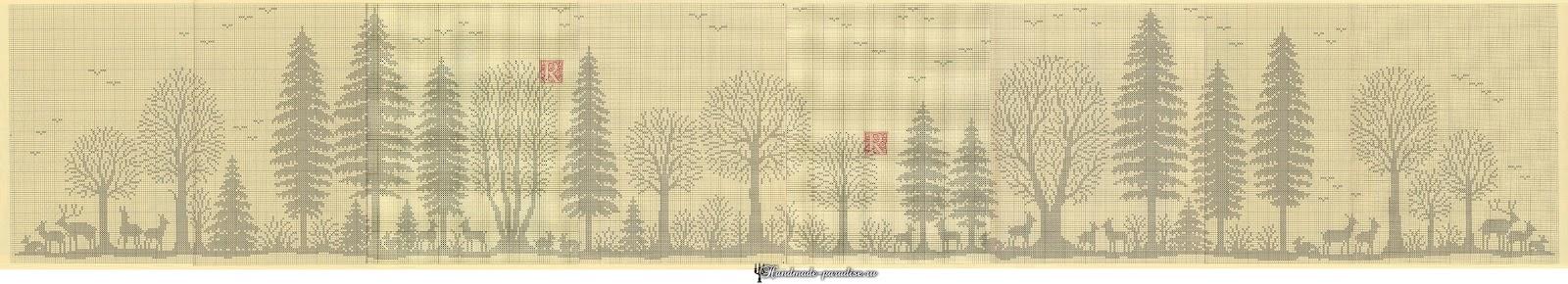 Лес. Филейные шторы крючком и вышивка