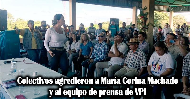 Colectivos agredieron a María Corina Machado y al equipo de prensa de VPI