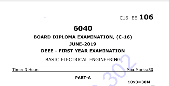Basic Electrical Engineering Model question papers sbtet diploma eee c16 june 2019 | manaresults