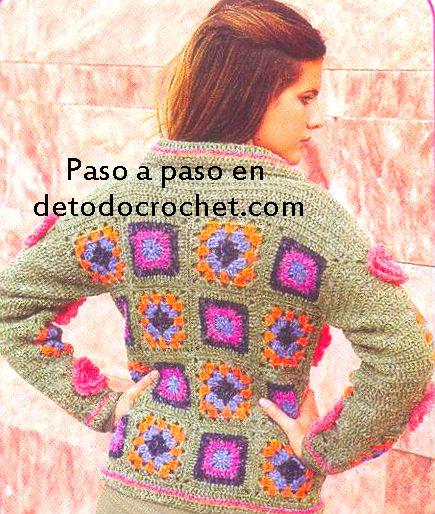 espalda cárdigan crochet