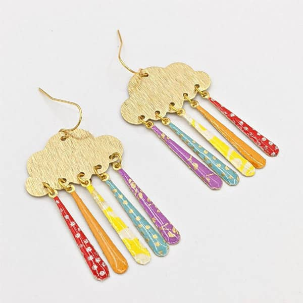 Pair of origami paper, brass, and resin colorful cloud earrings