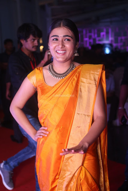 Shalini Pandey in Beautiful Orange Saree Sleeveless Blouse Choli ~  Exclusive Celebrities Galleries 001.JPG
