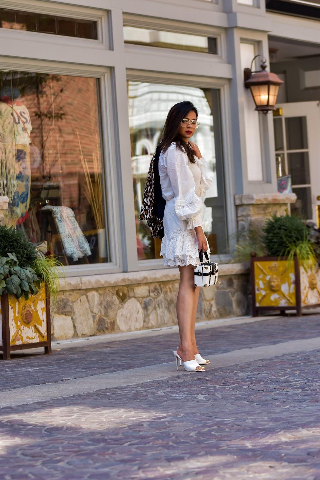 white summer dress, leopard print blazer, white aldo mules, white heels for summer, golden glasses, summer outfit, white, street style, long hair dont care, myriad musings, saumya shiohare