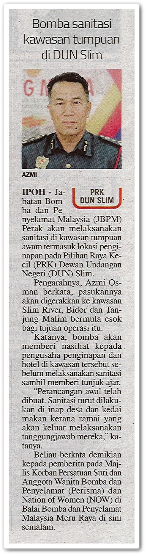 Bomba sanitasi kawasan tumpuan di DUN Slim - Keratan akhbar Sinar Harian 2 Ogos 2020