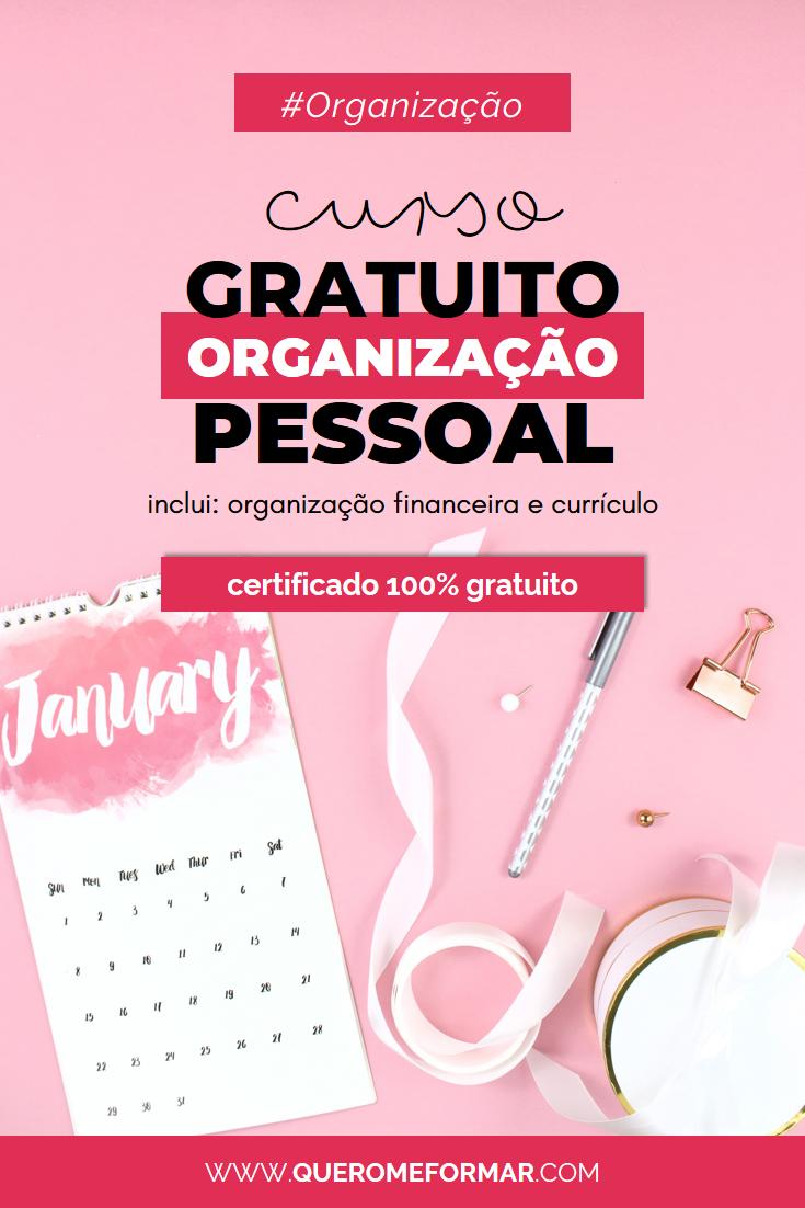 Imagens para Pinterest Curso Online e GRATUITO de Organização Pessoal com CERTIFICADO de Conclusão 100% Gratuito