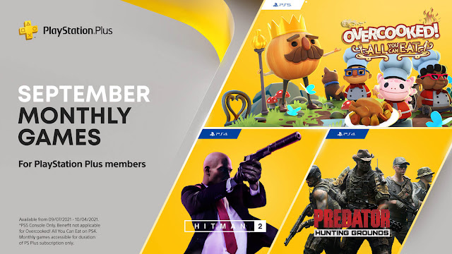playstation plus hitman 2 overcooked all you can eat predator hunting grounds ps4 plus ps5 sony interactive entertainment ghost town games team 17 io interactive warner bros. interactive entertainment illfonic playstation mobile inc september 2021