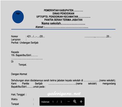 Contoh Berkas Administrasi Sertijab Untuk Kepala Sekolah -Galeri Guru