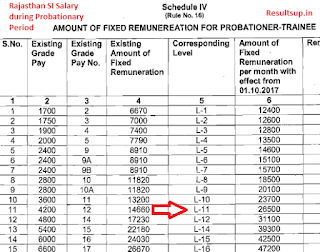 Rajasthan SI Salary during Probationary Period