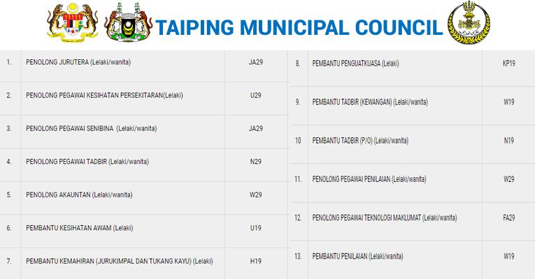 Kekosongan Terkini di Majlis Perbandaran Taiping