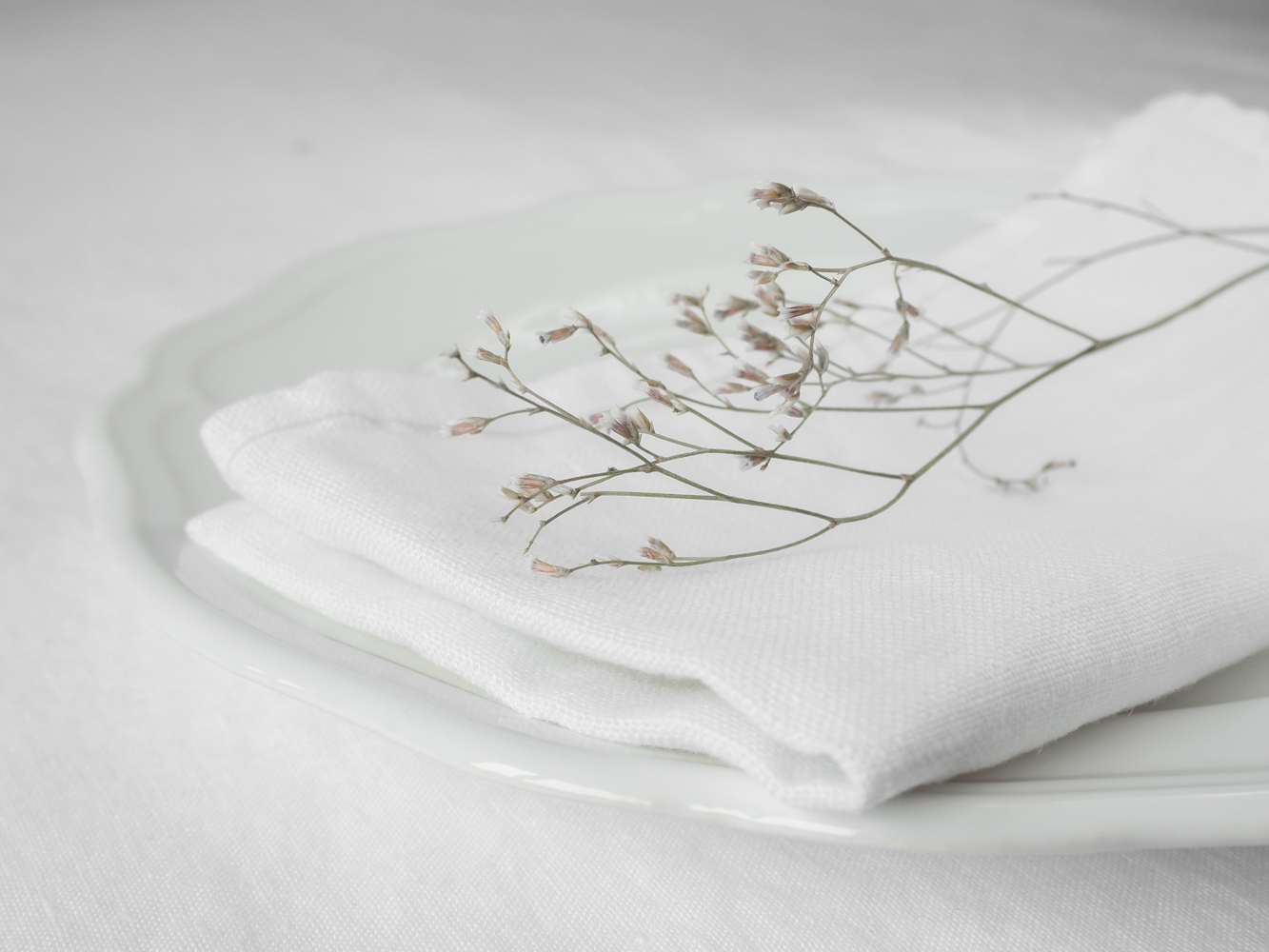 Table setting with a linen napkins