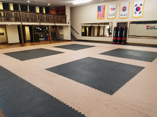 Greatmats wood grain and black karate mats