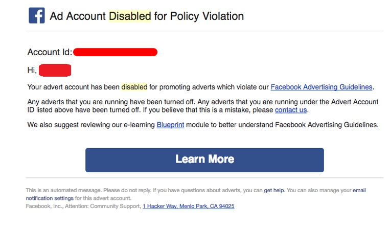 Facebook ad Account Disabled for Unusual Activity
