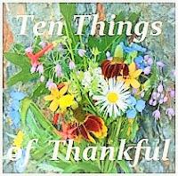 ten things of thankful, gratitude blog