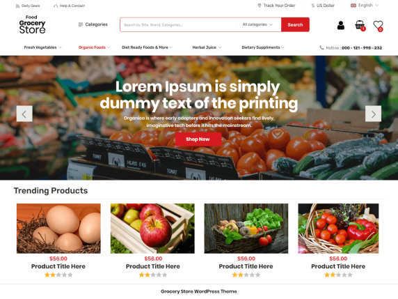 Food Grocery Store | Top 10 Best Free Ecommerce Themes For WordPress Online Store