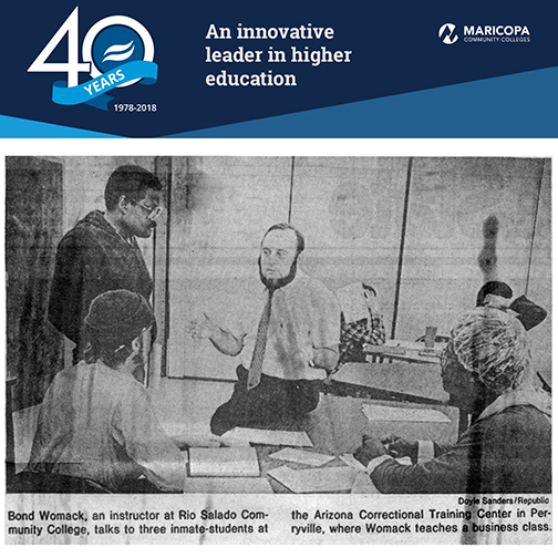Rio Salado 40th anniversary banner with 1985 Arizona Republic photo of Rio Salado College Instructor Bond Womack working with Perryville students.