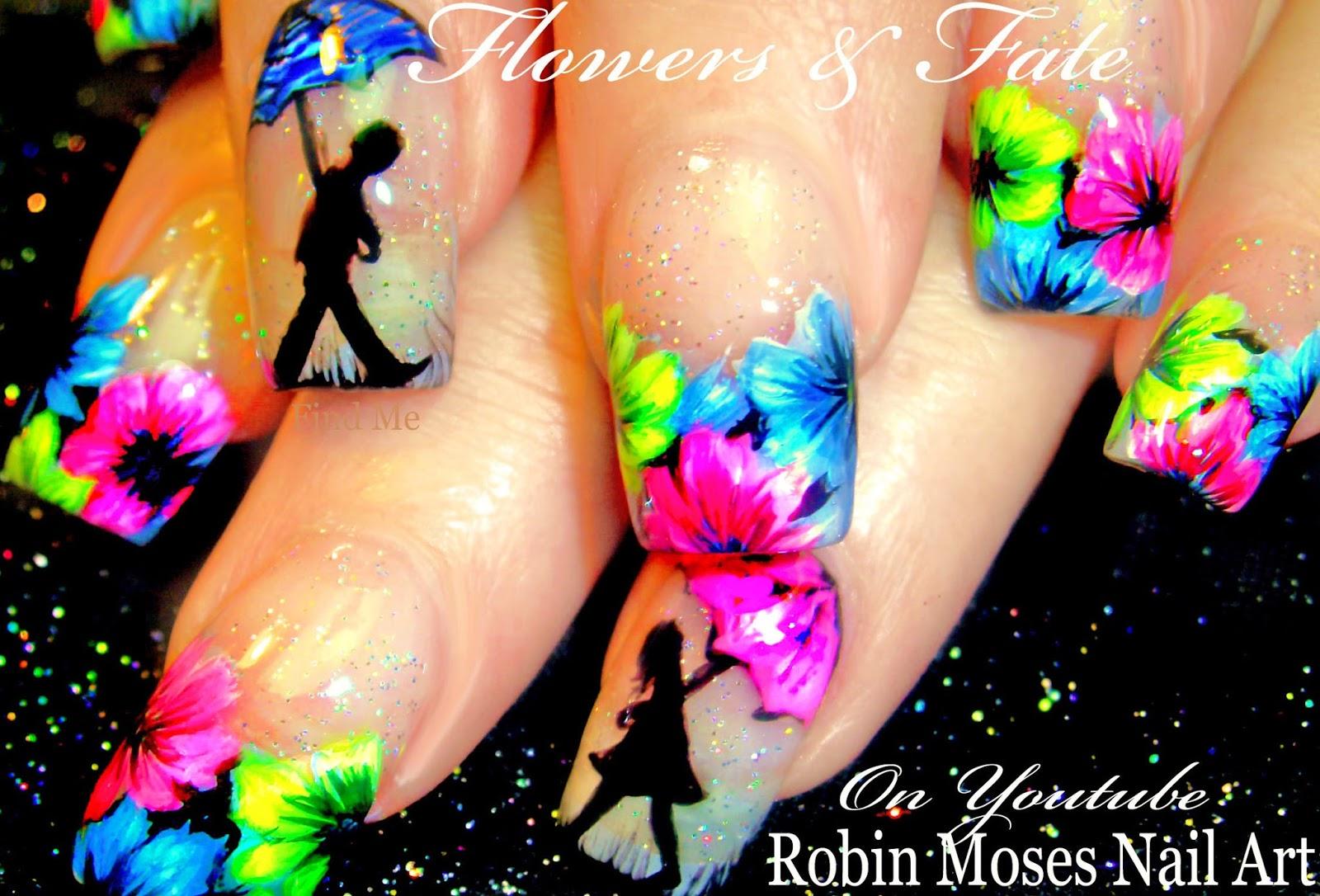 Nail Art by Robin Moses: DIY Hand Painted Neon Flower nail art ...
