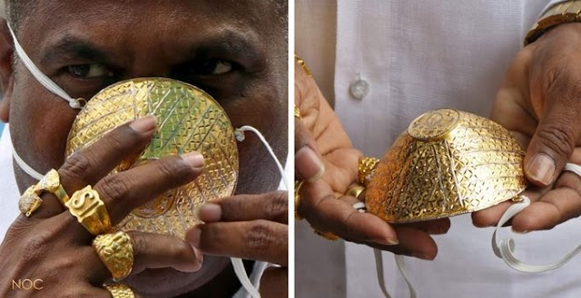 A business man in India wears a $4000 Gold mask as coronavirus protection