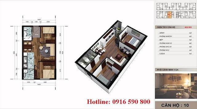 Thiết kế căn 48m2 chung cư the vesta