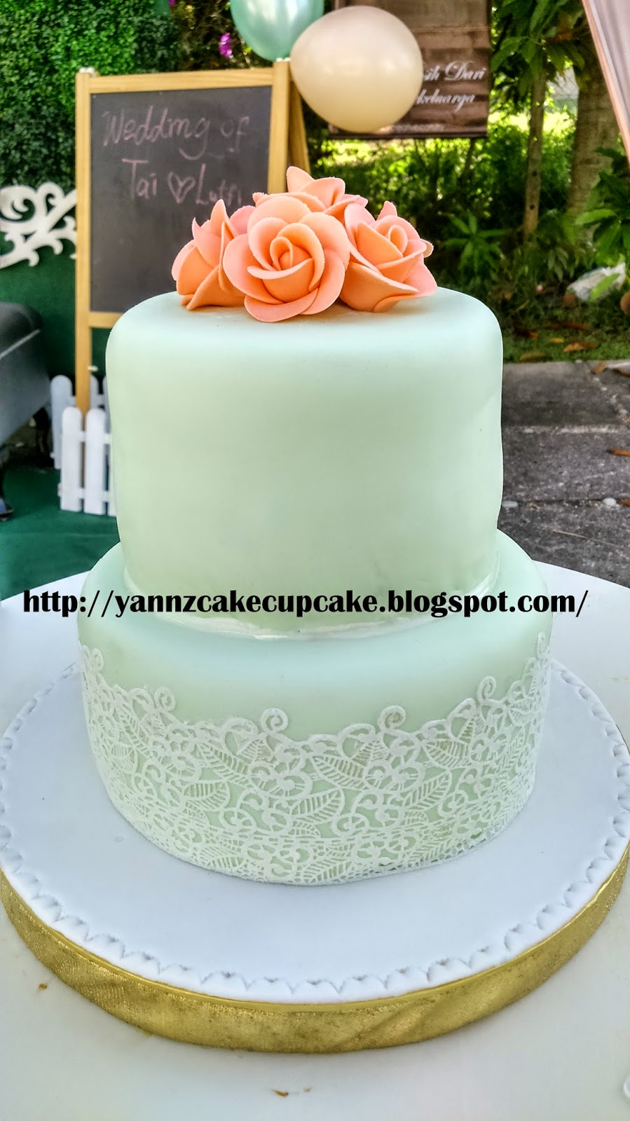 wedding cake peach and mint green cake amp cupcake by yannz mint green amp wedding 23392