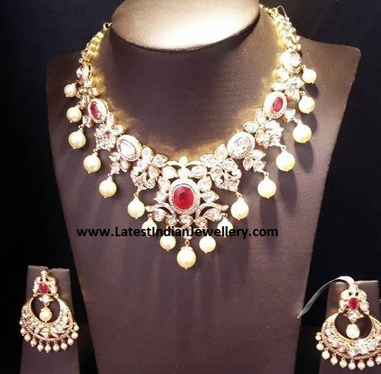 Victorian Flat Diamond Chandbali Set
