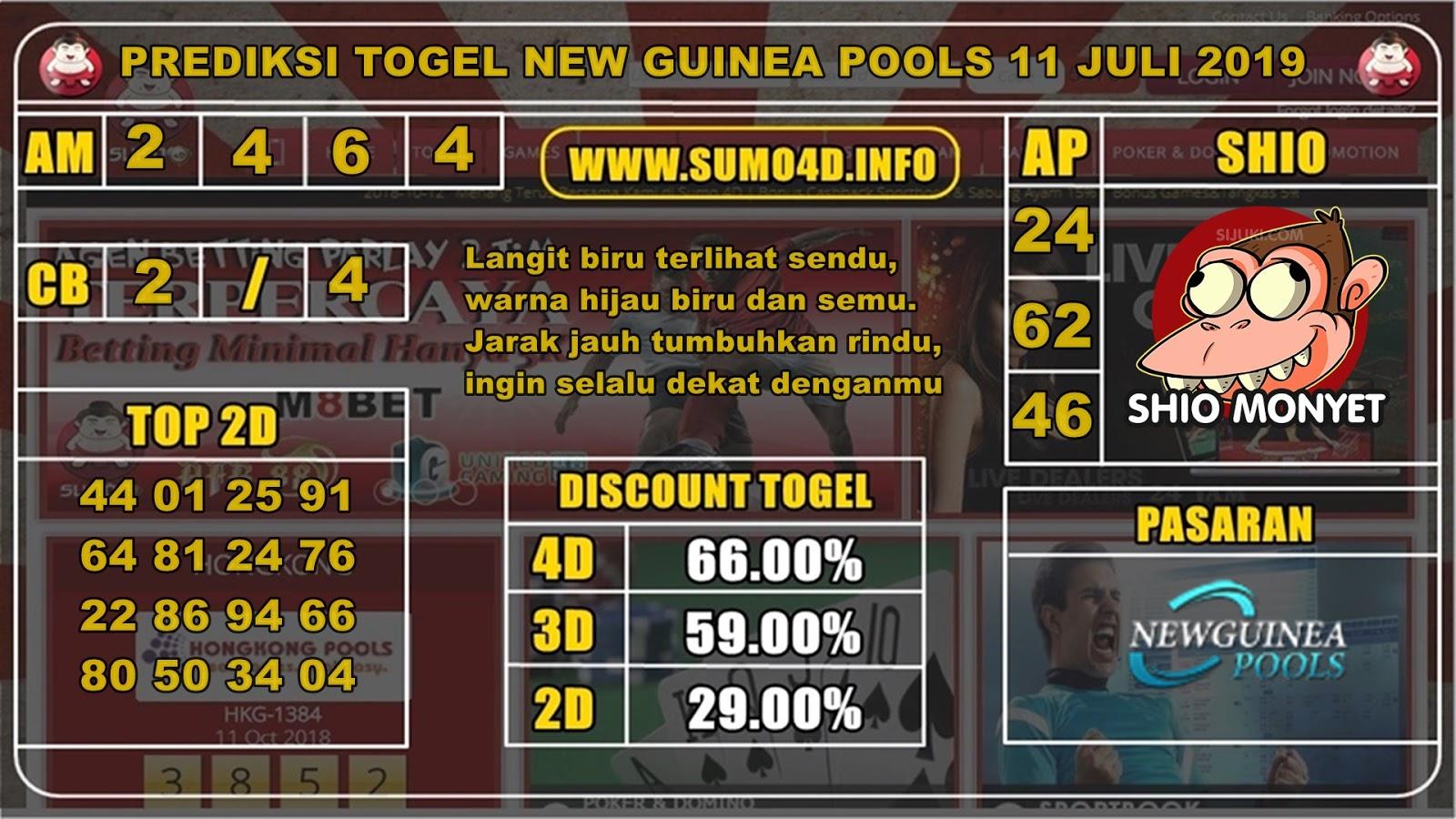 PREDIKSI HARIAN TOGEL JITU NEW GUINEA POOLS 10 JULI 2019 - Sumo 4D
