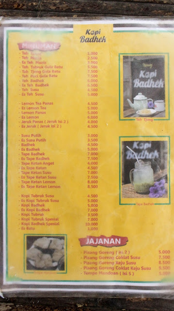 menu warung kopi badhek di borobudur