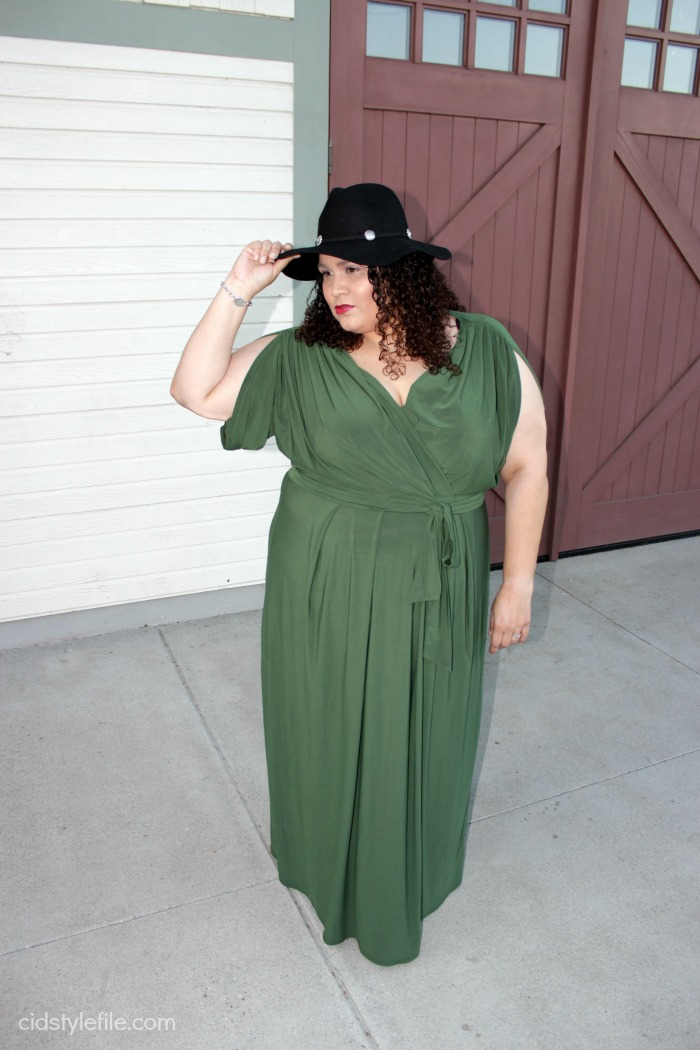 fab 40s, style challenge, bloggers over 40, plus size style, maxi dresses, gcgme, hats, fall style, latina style blogger, cidstylefile, olive green, plus size fashion, curvy style