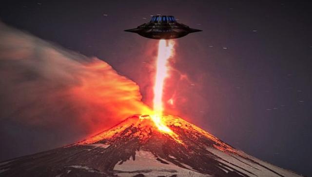 Cámaras de seguridad capta Ovni saliendo de un volcán en erupción
