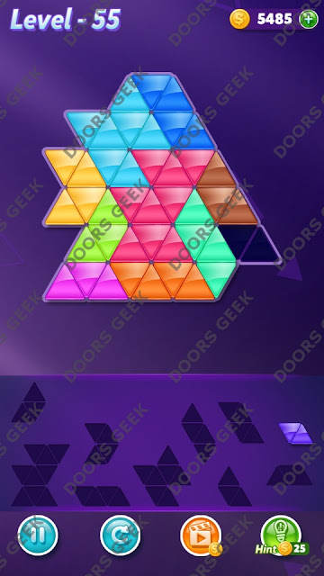Block! Triangle Puzzle Master Level 55 Solution, Cheats, Walkthrough for Android, iPhone, iPad and iPod