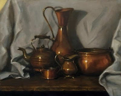Still life oil painting of a small copper pot, a small copper jug, a copper teapot, a copper pot and a large copper vase.